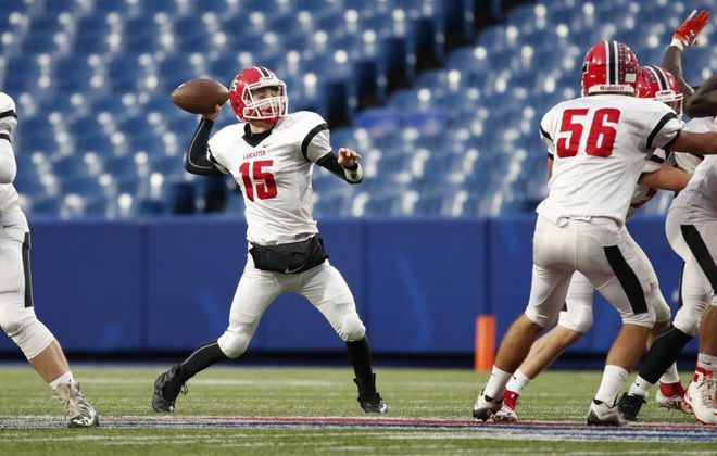 Lancaster quarterback Jason Mansell throws against Bennett during the first half of the Section VI Class AA Championship on Nov. 2, 2018, at New Era Field. (Harry Scull Jr./Buffalo News)
