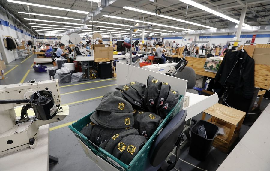 New Era Cap's Derby facility is home to approximately 219 workers who will lose their jobs when the plant closes at the end of March. (Mark Mulville/Buffalo News file photo)