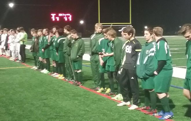 Finney and North Collins line up to accept their hardware after the Class D boys soccer game in the Far West Regionals.