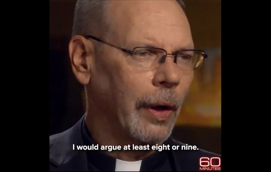 """The Rev. Robert Zilliox, shown being interviewed on the CBS program """"60 Minutes"""" in 2018, is circulating to his fellow priests a letter demanding that Buffalo Diocese Bishop Richard J. Malone resign. (Image via Twitter)"""