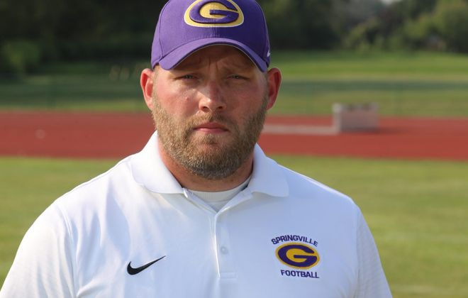 Rob Valenti, the coach of Springville-Griffith Institute. (John Hickey/Buffalo News)