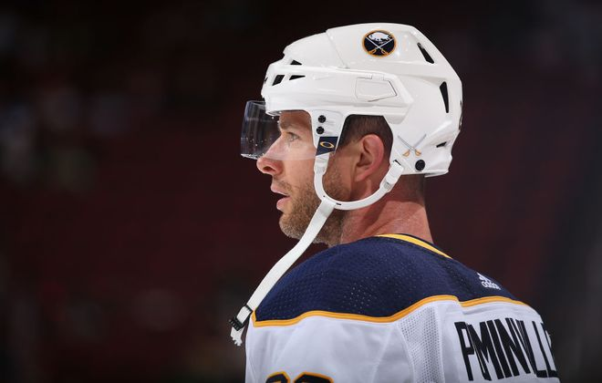 The Sabres retrieved the puck Jason Pominville used to score a goal in his 1,000th NHL game. (Getty Images)