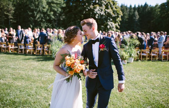 Paige and Patrick married in the backyard of her parents' East Aurora home. (Alexandra Meseke)
