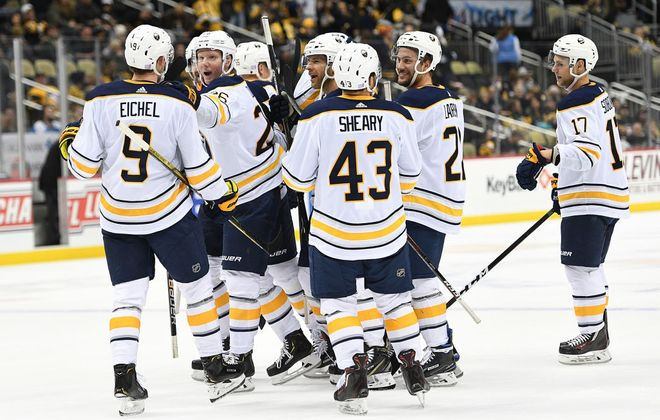 The Sabres celebrate  Jack Eichel's overtime goal Monday in Pittsburgh. (Getty Images)
