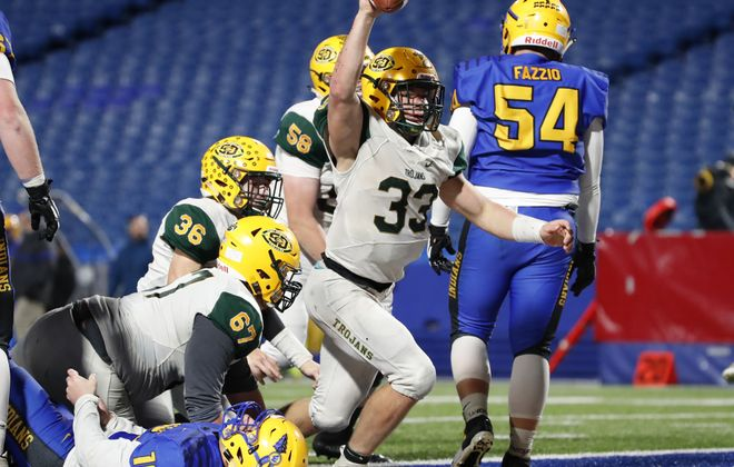 West Seneca East running back Shaun Dolac scores the game-winning touchdown against West Seneca West during the second half of the Section VI Class A Championship on Nov. 1, 2018, at New Era Field. (Harry Scull Jr./Buffalo News)