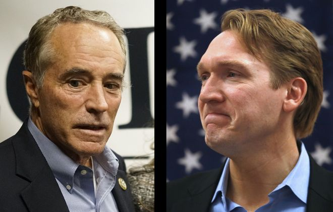 Republican Chris Collins pictured Tuesday night at the Planing Mill in Buffalo, left, and Democrat Nate McMurray pictured Tuesday night at his campaign headquarters in Hamburg. (Derek Gee and Robert Kirkham/Buffalo News)