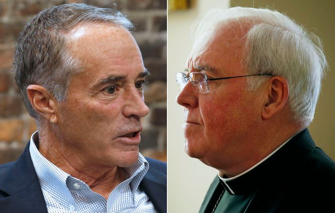Rep. Chris Collins, left, and Bishop Richard Malone both appeared to be avoiding tough questioning by choosing  what promised to be friendly media outlets for interviews.  (News file photos)