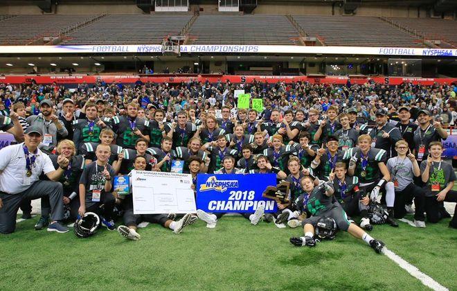 Clymer/Sherman/Panama celebrates its state title. (Harry Scull Jr./Buffalo News)