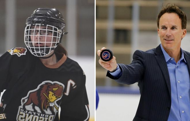 The Niagara County girls Federation hockey team received unexpected support from ESPN anchor John Buccigross' merchandise charity line. Pictured left is Natalie O'Brien, a junior at Starpoint. (via O'Brien family/Harry Scull Jr./News file photo)