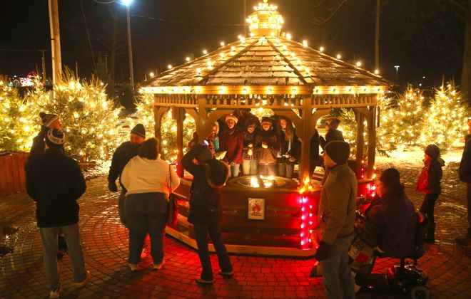 The gazebo in Christmas Tree Forest is one of the many festive displays at the Hamburg Fairground's Festival of Lights. (Robert Kirkham/Buffalo News file photo)