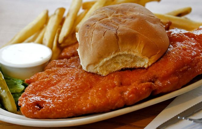 For $11 at Hoak's in Hamburg, you can have this chicken sandwich with a choice of fries, cole slaw or potato salad. (Robert Kirkham/Buffalo News)