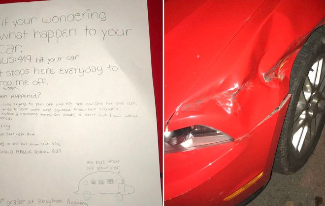 The damage to college student Andrew Sipowicz's car - and the note from a child that solved the hit-and-run. (Images courtesy Andrew Sipowicz)