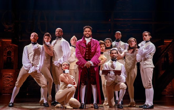 "Bryson Bruce, center, as Lafayette and company members of ""Hamilton."" (Photo by Joan Marcus)"