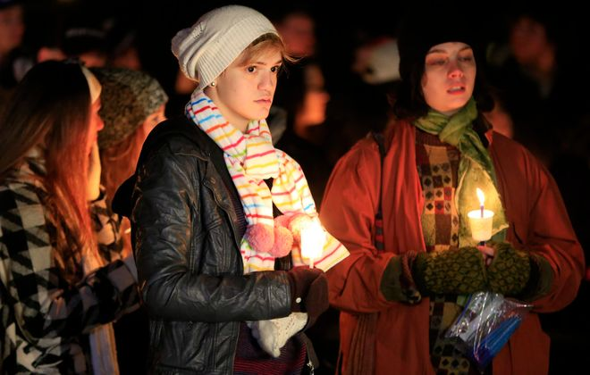 friends and family attend a vigil for Nolan Burch, at Briarhurst Park in Amherst,NY. on Saturday, Nov. 15, 2014. Burch died after collapsing at a frat house party at West Virginia University (Harry Scull Jr./Buffalo News)