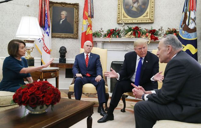 President Trump in a 2018 meeting with Vice President Pence, current House Speaker Nancy Pelosi and Senate Minority Leader Charles E. Schumer. (Getty images)