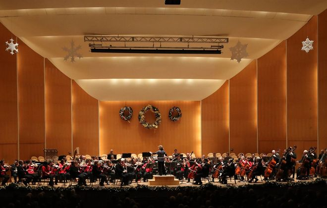 Kleinhans Music Hall and the Buffalo Philharmonic Orchestra are decked out in holiday cheer for JoAnn Falletta's Classical Christmas in 2018. (Sharon Cantillon/News file photo)