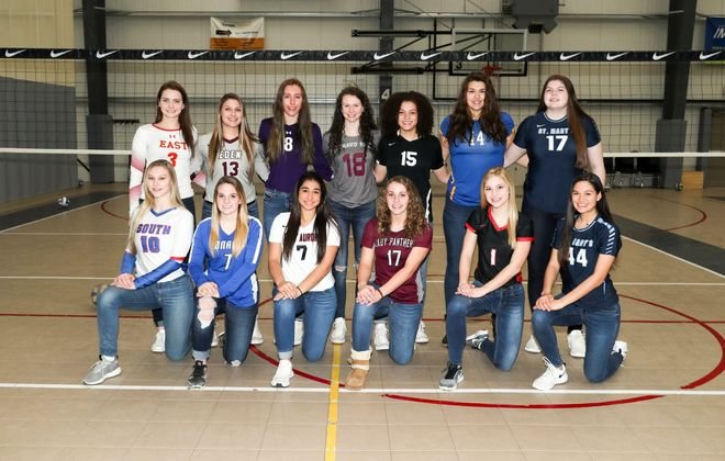 The All-Western New York girls volleyball team, front row from left to right: Megan Muehlbauer (Williamsville South), Madalyn Bowen (Panama), Olivia Alessi (East Aurora), Sierra Kiem (Portville), Jenna Sonnenberg (Niagara Wheatfield) and Jasmine Brundage (St. Mary's). Back row from left to right: Rachel Steffan (Williamsville East), Paiton Basinski (Eden), Aspen Moore (Roy-Hart), Abby Ryan (Orchard Park) , Jaide Cummings (Clarence), Shelby Kersten (Alden) and Hannah Mulhern (St. Mary's of Lancaster. James P. McCoy/Buffalo News