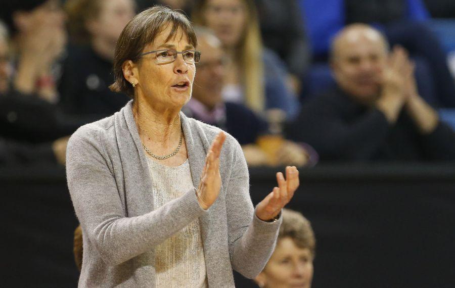 Stanford coach Tara VanDerveer cheers on her team at Alumni Arena  (Mark Mulville/Buffalo News)