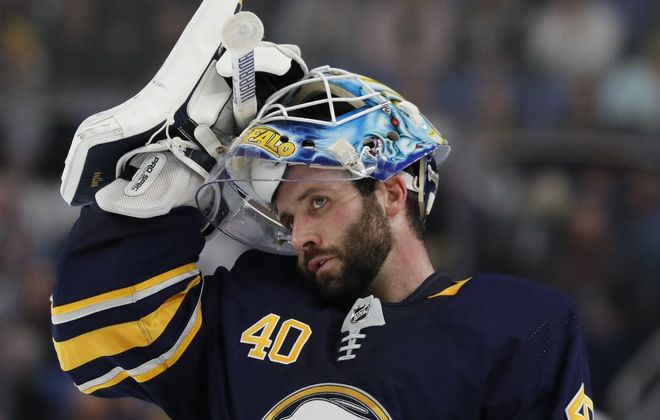Buffalo Sabres goalie Carter Hutton was pulled Monday after allowing five goals on 12 shots. (Mark Mulville/News file photo)