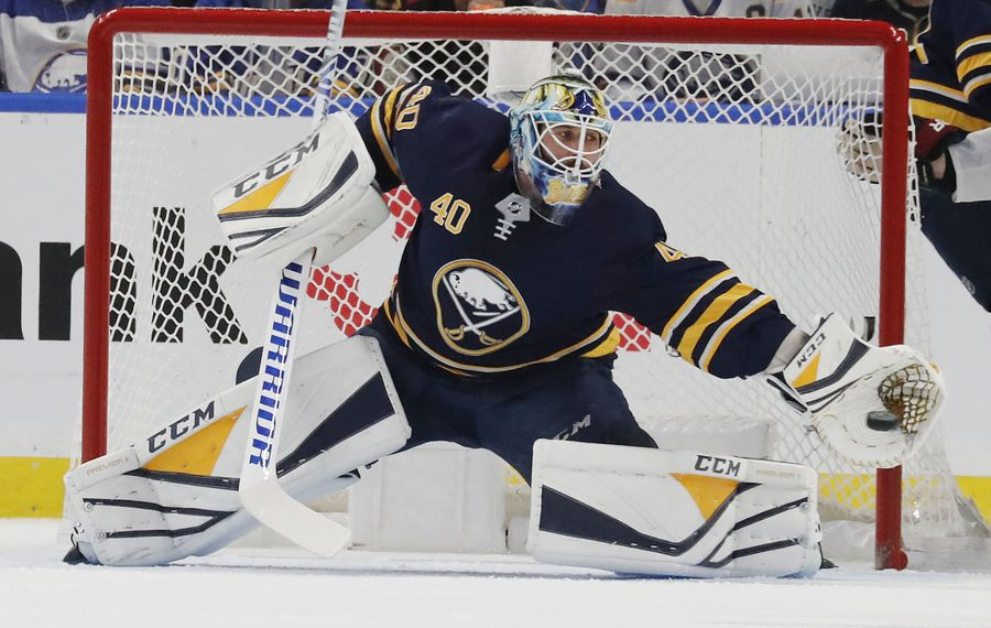 Carter Hutton played a career-high 50 games for the Buffalo Sabres this past season. (Mark Mulville/Buffalo News file photo)
