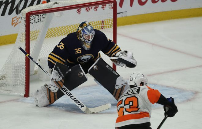 Buffalo Sabres goaltender Linus Ullmark makes a save on s shot from Philadelphia Flyers defenseman Shayne Gostisbehere in the first period of Saturday's game in KeyBank Center. (James P. McCoy/Buffalo News)
