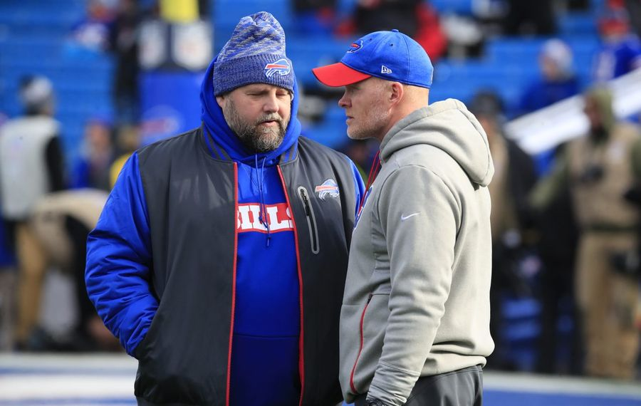 Bills head coach Sean McDermott and Brian Daboll talk in pregame prior to playing the New York Jets at New Era Field on Sunday, Dec. 9, 2018. (Harry Scull Jr./Buffalo News)
