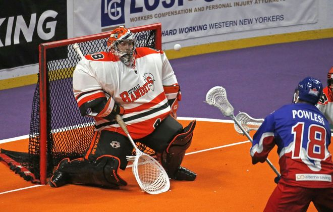 Bandits goalie Matt Vinc was named the NLL Goalie of the Year on Thursday.  (Robert Kirkham/Buffalo News)