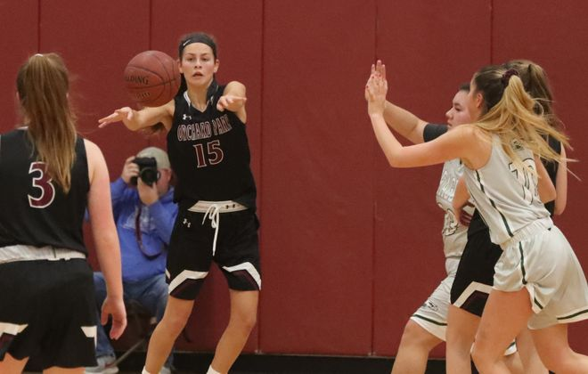Orchard Park Rachel Major passes the ball in the second half against Lake Shore Saturday (James P. McCoy/Buffalo News)