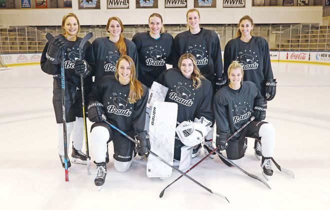 The Buffalo Beauts have eight players on their current roster who are graduates of Nichols School. First row from left are Annika Zalewski, Julia DiTondo, and Emily Pfalzer. Back row from left are Emily Janiga, Jacquie Greco, Hayley Scarmurra, Maddie Elia and Julianna Iafallo. (Sharon Cantillon/Buffalo News)