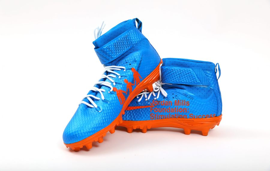 The customized cleats Bills right tackle Jordan Mills will wear Sunday against the New York Jets. (Photo courtesy of Buffalo Bills)
