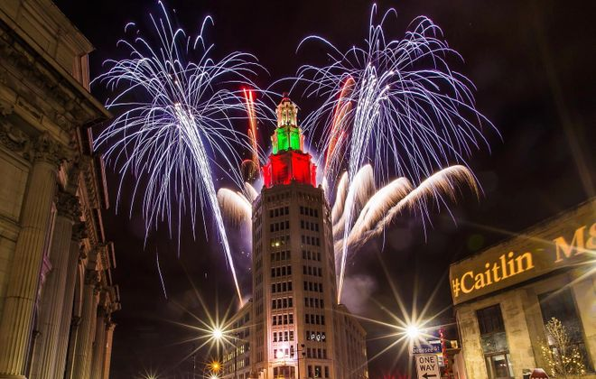 Fireworks will again be part of the free New Year's Eve celebration at the Electric Tower. Some car-riding services will be offering free rides on New Year's Eve to promote public safety. Don Nieman/Special to The News)