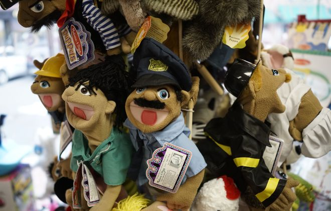 Puppets on display at Bloomsbury Lane Toy Shoppe in the Village of Lancaster. (Derek Gee/Buffalo News)
