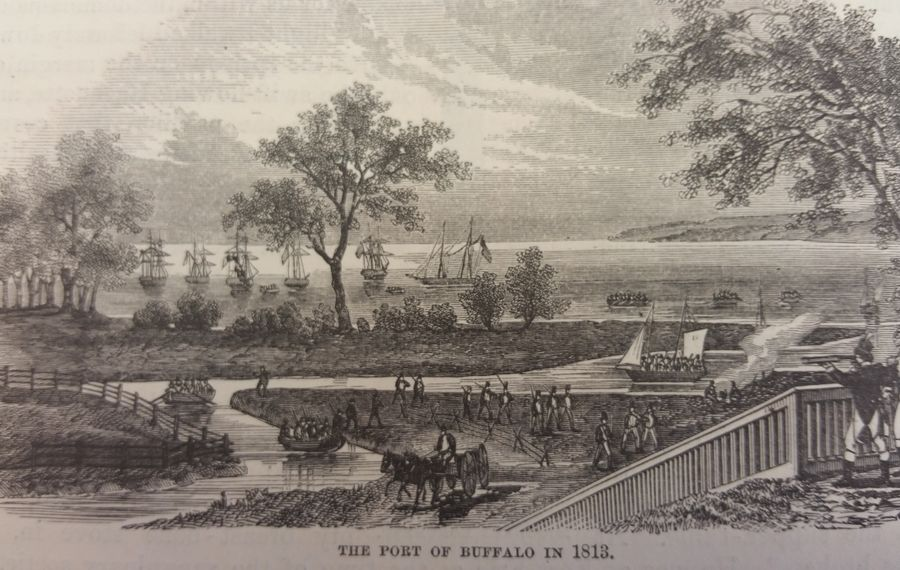 "The Village of Buffalo, illustrated in 1813. (Image courtesy of ""The Pictorial Field Book of the War of 1812"")"