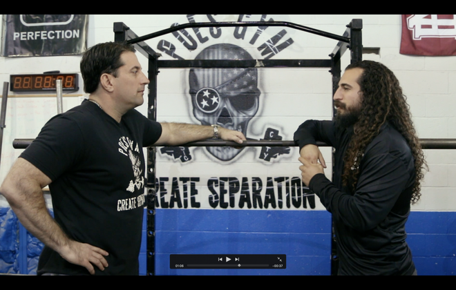 "Matt Poe, left, owner of Poe's Gym, and ""Farb,"" host of ""Gymratts."" (Photo courtesy of Marc Honan)"