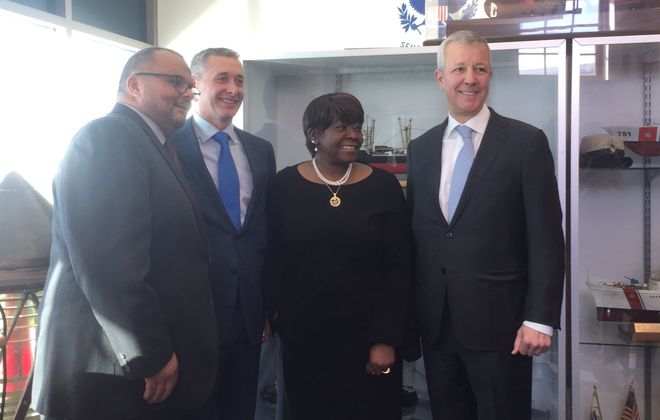 Announcing a joint donation to the African American Veterans Monument were (left to right) chair Warren Galloway, M&T Bank co-CEO Rene Jones, Assembly member Crystal Peoples-Stokes and Delaware North CEO Lou Jacobs. (Keith McShea/Buffalo News)