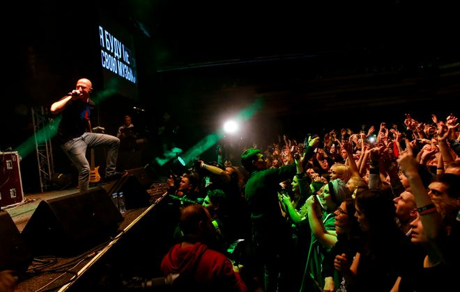 Rapper Oxxxymiron performs during a concert in support of rapper Husky at a Moscow club. (Getty Images)