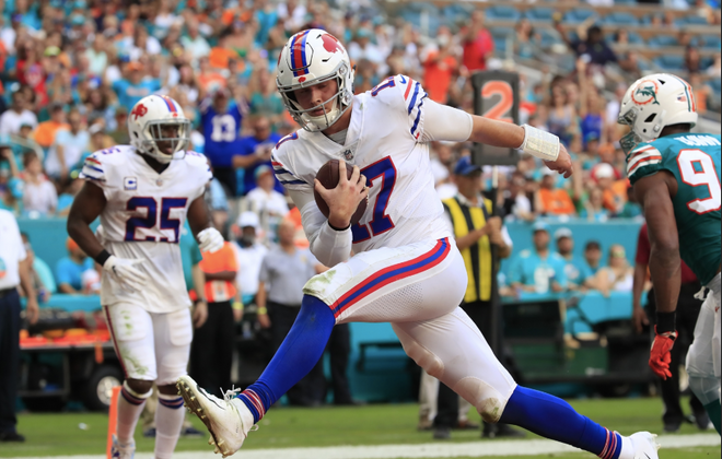 Josh Allen couldn't quite pull off a comeback win Sunday, but Bills coach Sean McDermott was still impressed with the rookie quarterback's performance. (Harry Scull Jr./Buffalo News)