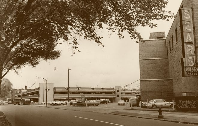 The Jefferson Avenue side of Buffalo's original Sears store, at the corner of Main and Jefferson.