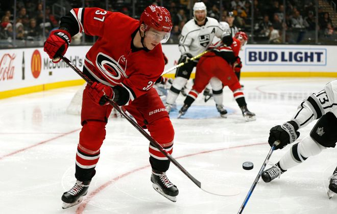 Carolina's Andrei Svechnikov, taken last June one pick after Buffalo's Rasmus Dahlin, has eight goals this season. (Getty Images)