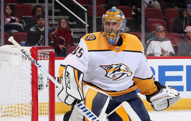 Nashville's Pekka Rinne leads the NHL with a 1.86 goals-against average (Getty Images).