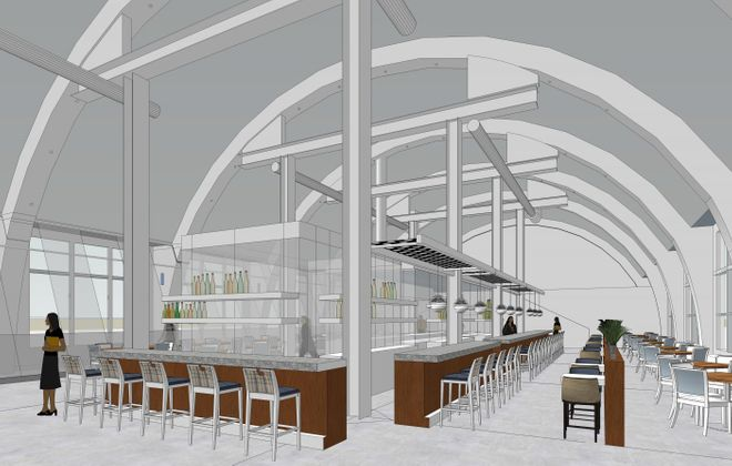 A rendering of the proposed restaurant at the Pierce-Arrow Lofts.