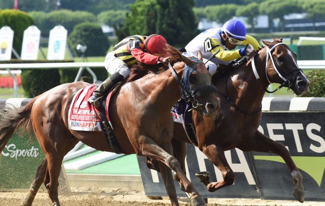Bee Jersey (inside) nosing out Mind Your Biscuits in the Met Mile was a thrilling finish in 2018. Photo Credit: Dave Alcosser/NYRA