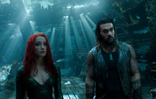 """""""Aquaman,"""" starring Jason Momoa and Amber Heard, is a bit too long and intense for kids younger than age 12.  (DC Comics-Warner Bros. Pictures)"""