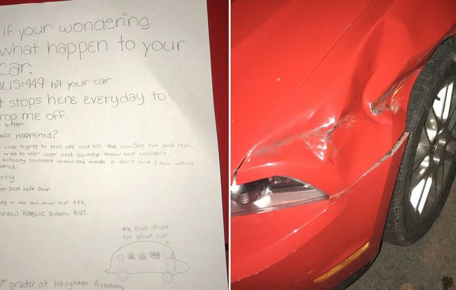 The damage to college student Andrew Sipowicz's car – and the note from a child that solved the hit-and-run. (Images courtesy Andrew Sipowicz)