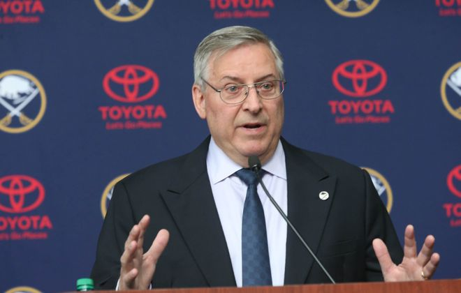 Terry Pegula discussed a new Bills stadium at a press conference Tuesday. (James P. McCoy/News file photo)