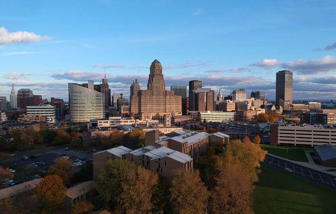 The Buffalo skyline, Tuesday, Nov. 7, 2017. (Derek Gee/Buffalo News)