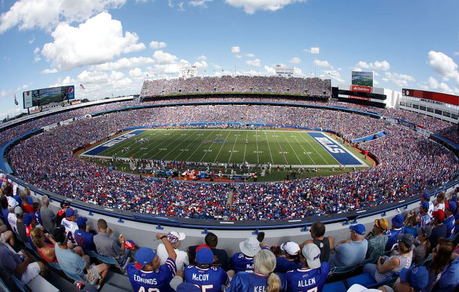 Buffalo Bills fans cheer on their team as they take on the Los Angeles Chargers at New Era Field in Orchard Park, Sunday, Sept. 16, 2018. (Derek Gee/Buffalo News)