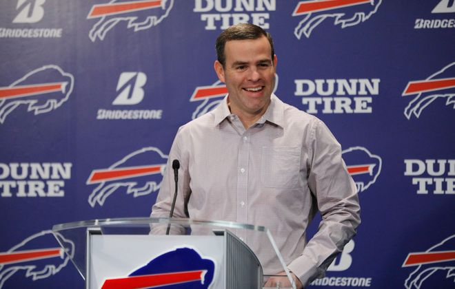 Bills General Manager Brandon Beane uses mock drafts as part of his preparation. (Derek Gee/Buffalo News)