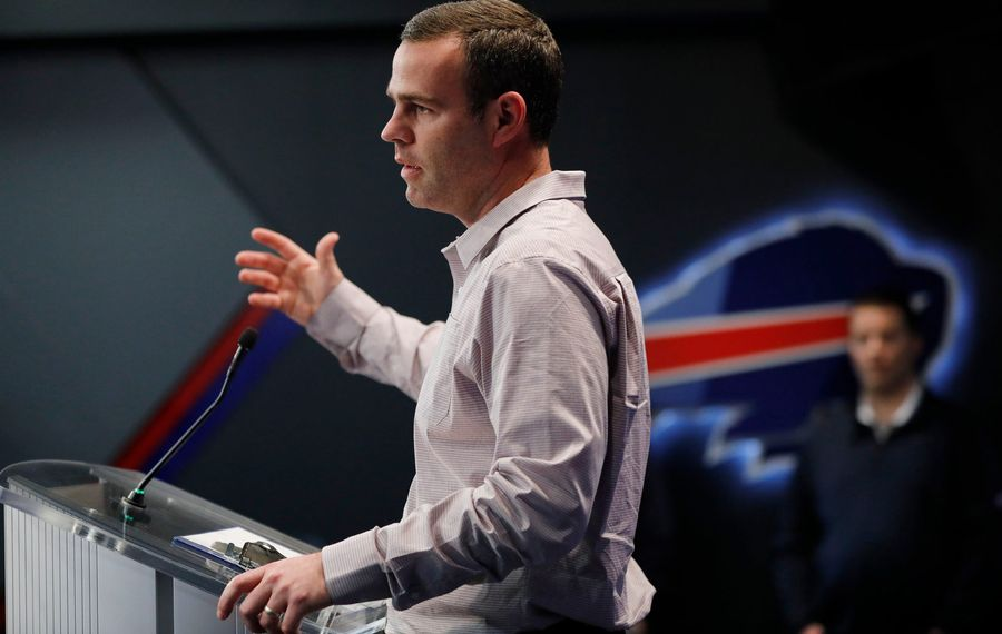 Bills General Manager Brandon Beane would have to pay a steep price to acquire the third overall draft pick. (Derek Gee/Buffalo News)