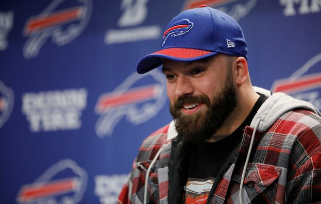 Buffalo Bills center Mitch Morse talks to the media at One Bills Drive. (Derek Gee/News file photo)